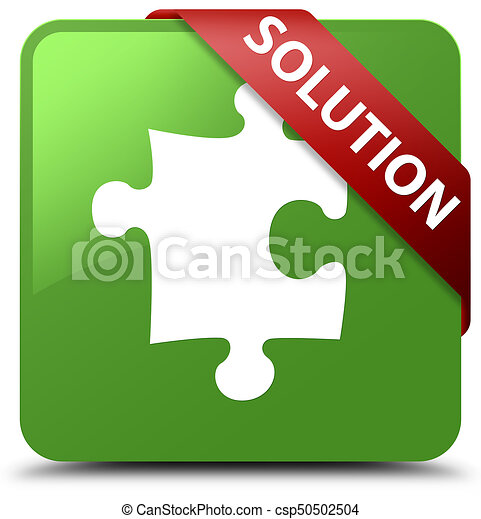 Solution (puzzle icon) soft green square button red ribbon in corner - csp50502504