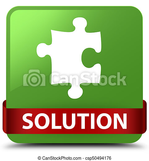 Solution (puzzle icon) soft green square button red ribbon in middle - csp50494176