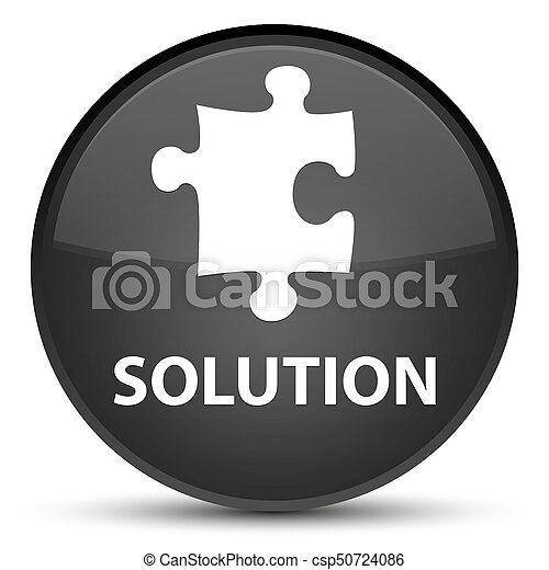 Solution (puzzle icon) special black round button - csp50724086