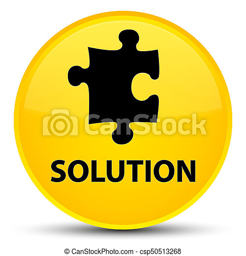 Solution (puzzle icon) special yellow round button - csp50513268