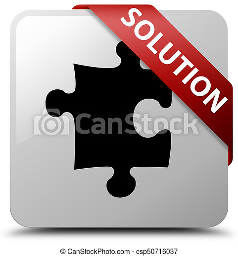 Solution (puzzle icon) white square button red ribbon in corner - csp50716037