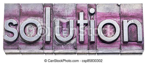 solution word in vintage letterpress metal types - csp85830302