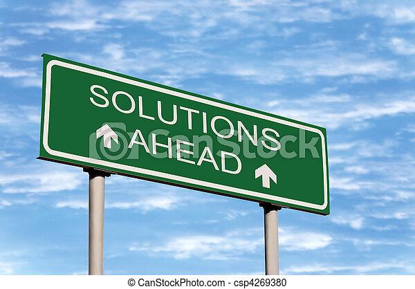 Solutions Ahead Road Sign - csp4269380