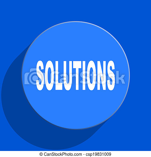 solutions blue web flat icon - csp19831009