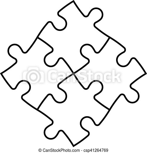 Solved Jigsaw Puzzle Of Four Pieces Team Cooperation Teamwork Or Solution Business Theme Simple Flat Vector Illustration With Black Outline On White