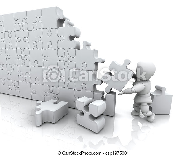 Solving Jigsaw Puzzle 3d Render Of A Man