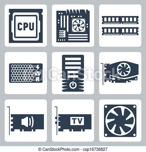 som, hardware, vetorial, caso, poder, ícones, refrigerador, motherboard, unidade, ram, cartão, cpu, computador, vídeo, tv-tuner, set: - csp16736827