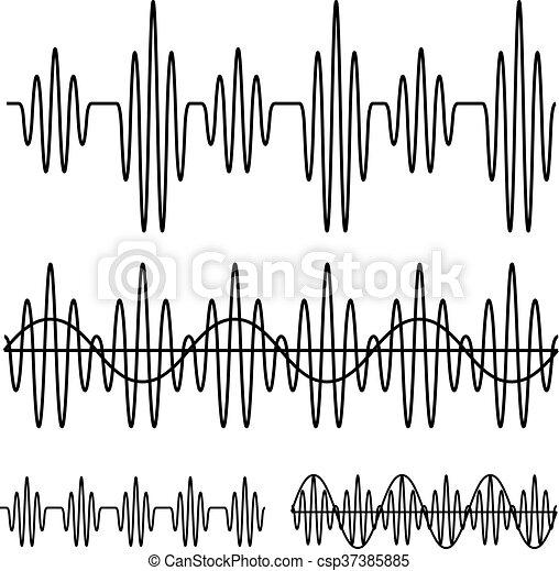 som, linha, sinusoidal, pretas, onda - csp37385885