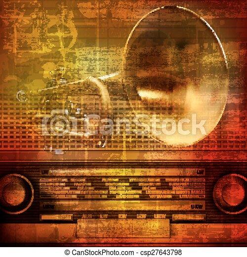 som, trompete, abstratos, grunge, fundo - csp27643798