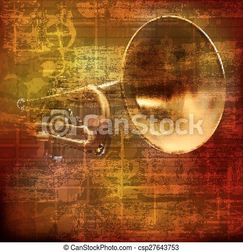 som, trompete, abstratos, grunge, fundo - csp27643753