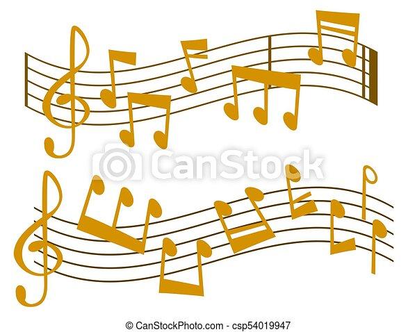 som, vetorial, texto, notas, músico, writting, ilustração, colorfull, símbolos, sinfonia, música, melodia, áudio - csp54019947
