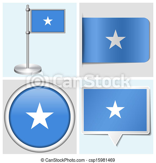 Somalia flag set of various sticker button label and flagstaff csp15981469