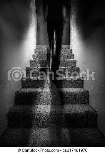 Una sombra subiendo escaleras - csp17461976