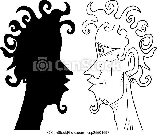 Sombra Rosto Homem Sombra Criativo Desenho Cara Homem