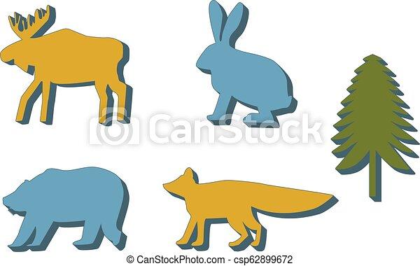 Siluetas coloreadas con sombras animales del bosque... alces, conejos, osos y zorros. Fir árbol. - csp62899672