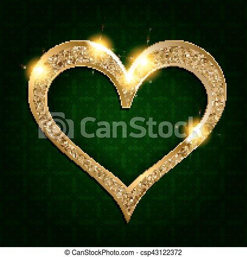 sombre, coeur, cadre, fond, or - csp43122372