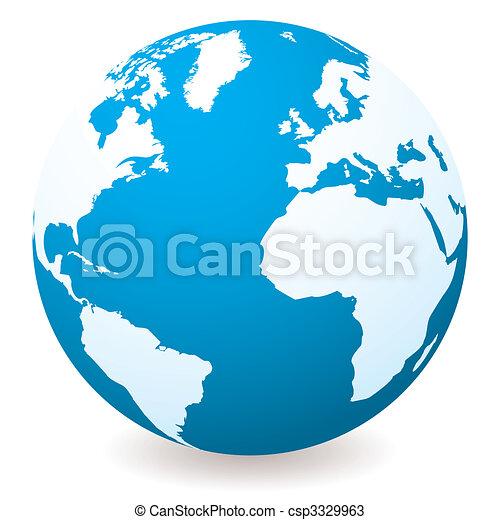 sombre, lumière, globe, bleu - csp3329963