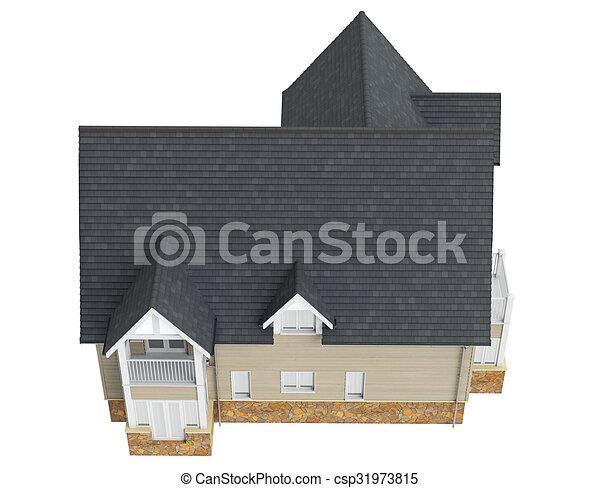 sombre maison vue dessus toit graphique maison sommet objet isol fond fonc toit vue. Black Bedroom Furniture Sets. Home Design Ideas