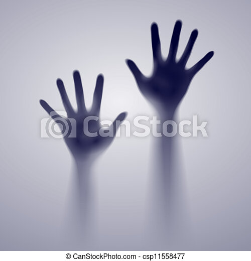 sombre, ouvrir mains - csp11558477