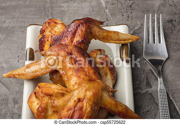 sombre, plaque, ailes poulet, fond - csp55725622