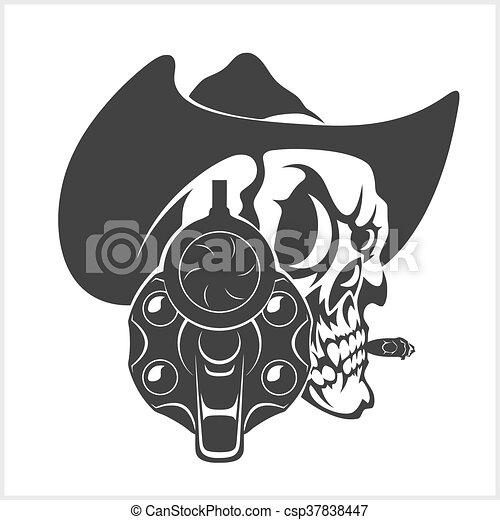Calavera con sombrero de vaquero y pistola - csp37838447