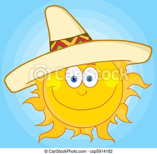 sombrero, chodząc, słońce - csp5914182