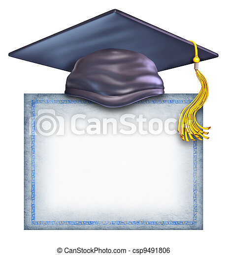 Un sombrero de graduación con un diploma en blanco - csp9491806