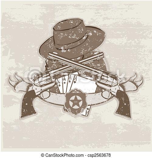 sombrero, dos, armas de fuego - csp2563678