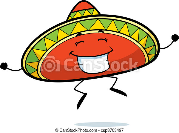 a happy cartoon sombrero jumping and smiling vectors illustration rh canstockphoto com sombrero clip art images sombrero clip art for cricut