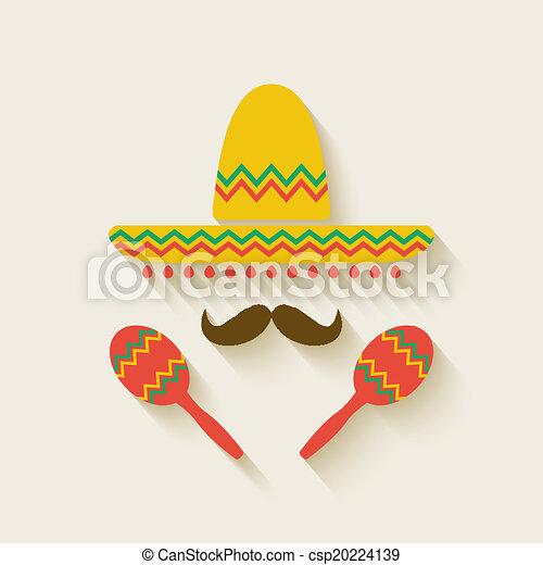 Sombrero mexicano y maracas - csp20224139