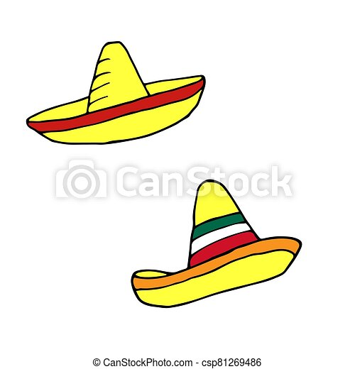 Sombrero - mexican traditional hat. Hand drawn sketch doodle. Vector color illustration for menu, poster, web and package design. Isolated on white background. - csp81269486