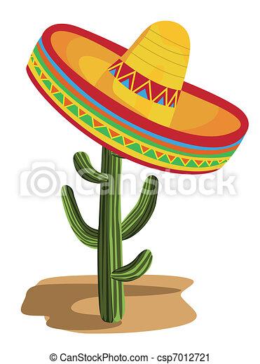 Sombrero on Cactus  - csp7012721