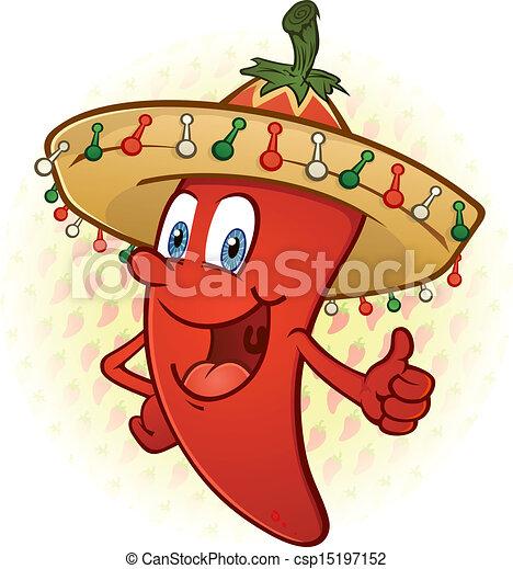Sombrero Pepper Thumbs Up Cartoon - csp15197152