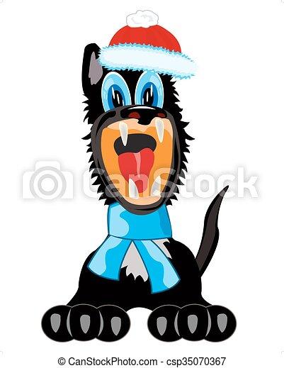Perro con bufanda y sombrero - csp35070367