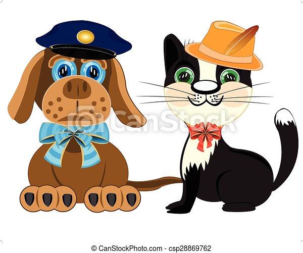 Policía de perros y gato con sombrero - csp28869762