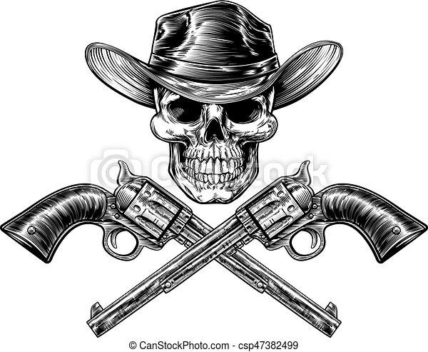 El sheriff Star Skull y pistolas - csp47382499