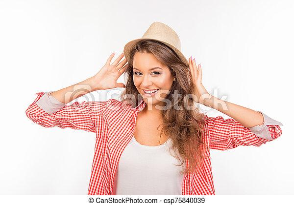 sombrero, sonreír feliz, niña - csp75840039