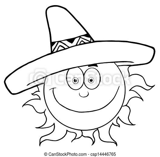sombrero, uśmiechnięte słońce, konturowany - csp14446765