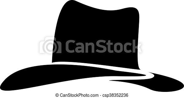 Silueta de sombrero de vaquero. Ilustración de vectores - csp38352236