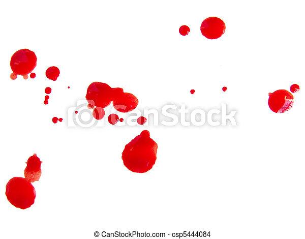 Some blood drops splash over white background - csp5444084