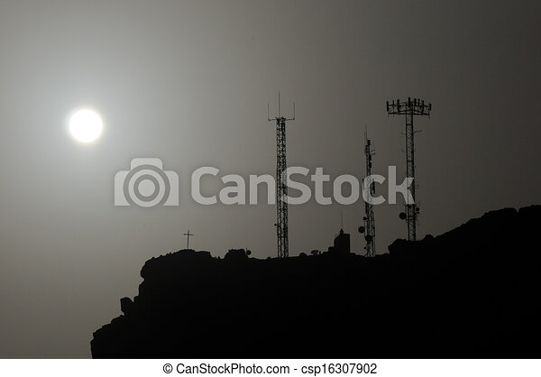 Some Silhouetted Antennas - csp16307902