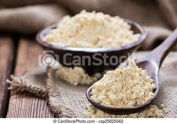 Some Soy Flour On Rustic Wooden Background Close Up Shot Canstock