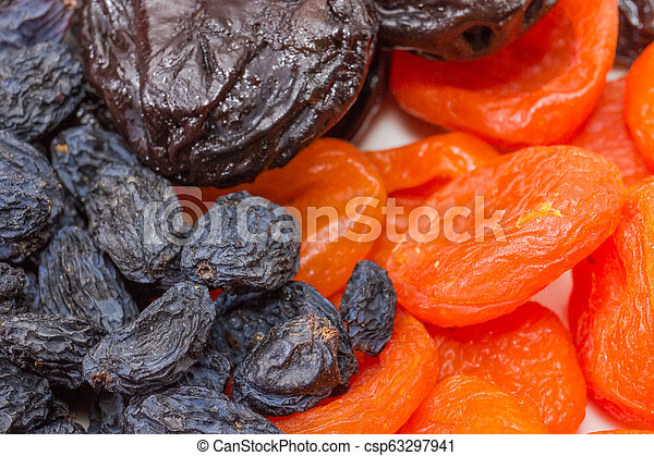 Some traditional dried fruits closeup at selective focus - csp63297941