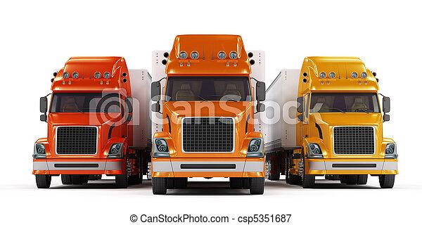 Some trucks presentation isolated on white - csp5351687