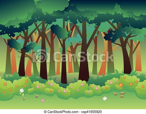 Sommar, grönt skog. Sommar, buskar, träd, grass., grönt ...