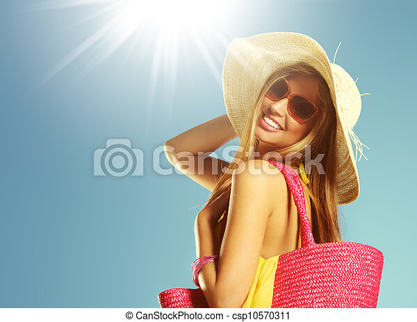 sommar, kvinna, semester - csp10570311