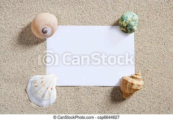 sommar, utrymme, semester, sand tidning, tom, avskrift, strand - csp6644627