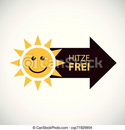 sommer, deutscher text, frei, hitze, sonne, lächeln glücklich - csp71929904