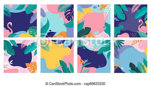 sommer, flamingo, lejlighed, blade, moderne, omsætning, baggrund, tropic, plakater, banner, style. - csp69633330
