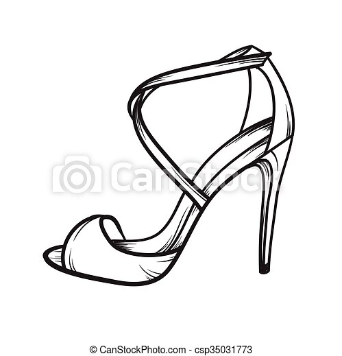 Sommer Frau Schuhe Hand Elegant Vektor Fersen Gezeichnet